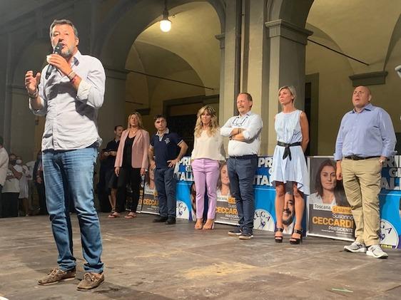 Salvini a Prato rilancia per l'aeroporto e gli inceneritori e chiude sulle polemiche interne alla Lega